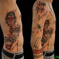 Tattoo 3 Affen und Sleeve Trash Polka © Farb Fleck Tattoo OG Tattoostudio Linz