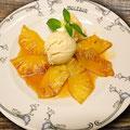 Dés d'Ananas caramelisés à la Glace Limettes