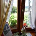La fenêtre de la cuisine offre une vue sur nos prés et sur la vallée !