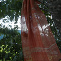 全てベンガラ染めの糸で織った作品 リネンと綿麻 32×186センチ
