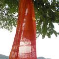 太陽と仲良くなれるように織った夏用ストール 風通し良く、日除けにも良く快適な1枚 コットン100% 35×187cm (sold-out)