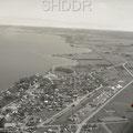 Vue aérienne de Roberval vers la fin des années 1940. Fonds Studio Chabot.