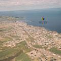 Vue aérienne de Roberval en 1964. Photographe : Fernand Bilodeau. Collection Jean Gagnon.