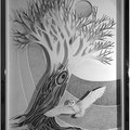 La dame blanche, technique mixte : carton, crayon et collages. 54,5 x 76 cm.