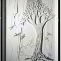 Ombre et lumière, technique mixte : carton, crayon et collage. 50 x 75 cm