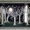 Forêt d'hiver, technique mixte : acrylique, carton, collage, lumière intégrée (LED). 60 x 85 x 13 cm (11kg).