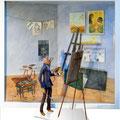 Autoportrait, 2014, 54 x 48 x 10 cm + 14 cm pour le peintre extérieur