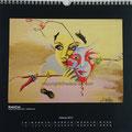 "Kalender 2013- Februar ""MaskeFrau"" mit Acryl auf Holz 2011"