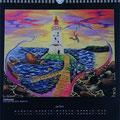 """Kalender 2013- Juli """"Hiddensee"""" mit Acryl auf Holz 2012"""