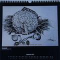 """Kalender 2014- Septembe """"Erntezeit"""" mit Tusche 2011"""