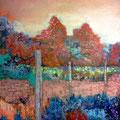 Park 3, Acryl, Spachtelmasse auf Leinwand, 100x80 cm