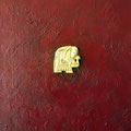 Elefantauf Rot, 30x40 cm,Acryl,Spachtelmasse, Blattgold auf Leinwand