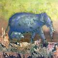 Elefanten, 60x 80 cm, Acryl,Spachtelmasse auf Leinwand