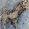Trojanisches Pferd, Acryl, Epoxidharz und Fineliner auf Leinwand, 120 x 40 cm