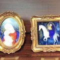 子守歌の調べ 白馬に乗る聖母子 ガラス絵
