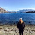 Rosa am Lake Wanaka, Neuseeland, Juni 2017