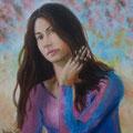En qué piensas... T.Mixta sobre lienzo./ What are you thinking about...Mixed medium on canvas