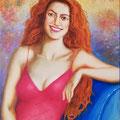 La pelirroja. Mixta sobre lienzo./ The redhead. Mixed medium in canvas.