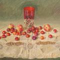 El vaso rojo,Temple sobre tabla./The red glass,Tempera on panel.
