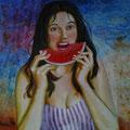 El gusto. T.Mixta sobre tabla / The taste. Mixed medium on panel.