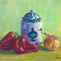 Onion and chiles- Oil on watercolor paper.