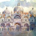 San Marcos visto desde el Museo Correr-Papel de Acuarela en Libro de Artista/View of S.Marc, Venice-Watercolor on paper in the Artist Book.