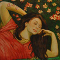 Erato,Técnica mixta sobre lienzo/ Erato, Mixed medium on canvas.