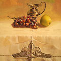 Bodegón en blanco.T.Mixta sobre tabla./ White still life. Mixed medium on panel.