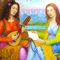 Musas de la Música y la Poesía(Fragmento)-Oleo sobre lienzo/ Muses of Music and  Poetry,detail-Oil on canvas