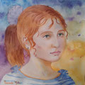 Retrato de niña. Acuarela sobre papel/ Portrait of child. Watercolor on paper.