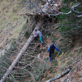gefährliche Arbeiten in der Steilrinne