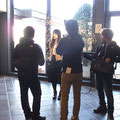 酪農学園大学ヒンメリプロジェクト。HTBさんで作家活動を取材して頂きました。写真はインタビューを受ける学生さん