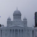 雪で作られたヘルシンキ大聖堂。細部まで再現されていて実物みたいです