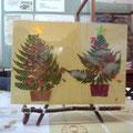 シダで作ったクリスマスツリー