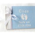 Foto Gästebuch Taufe Junge weiß hellblau Babyfüße