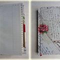 Adressbuch für Adressen und Telefonnummern - Hardcovereinband mit Vintage-Stoff bezogen, cremefarbene Buchseiten, laminiertes Register, 48 Blätter, Stifthalter