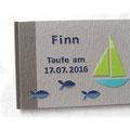 Gästebuch Taufe Junge Grau- Blau- und Grüntöne Name Fische Arche