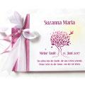 Foto Gästebuch Taufe Mädchen pink weiß Baum