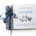 Gästebuch Taufe Junge steingrau weiß blau Anker Kreuz Herz