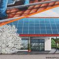 Sonnenhandwerker fassadengestaltung mit Wandbild und Firmenlogo gestaltet in Fürstenwalde mit der Graffiti Kunst im schönen Brandenburg Oder Spree. Solar Solaranlage.Empfangsbereichgestaltung.Immobilien