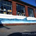 Getränke Geschäft im Fassaden Kunst mit Airbrush Bild verschönert