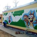 Kindergarten gestaltet mit Fassadenkunst im kindgerechtem Bild in Neurupin