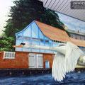 Wandmalerei auf der Innenfassade bzw Innenwand von Schwimmbad stadtbad