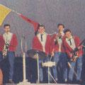 THE ROCKING SENSATION BOYS (uit Romance 1961) vlnr: Leo van Oostrom - Herbert Hooijkaas - Ton Schattelijn - Rob Kranenveld - Rein de Vries - Hugo van der Jagt