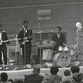 THE SHARKS tijdens een teenagerfestival in garagehal 't Westen, Oostburg op 20 juli 1963 - vlnr: Carlos van den Berg, Rudy de Queljoe, Rob van Raalten en Humphrey Jolly