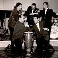 Franco Betro Band. Italiaans ensemble in Zwitzerland (1962) met gitarist/bassist/zanger  Giorgio Dareno (George Dankmeyer) rechts voor.