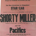 Reclameposter voor het optreden van Shorty Miller & The Pacifics in de Star-Cab, Düsseldorf in jan. 1965