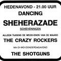Aankondiging voor het optreden van The Crazy Rockers in de Sheherazade in Scheveningen