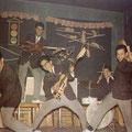 THE EASTERN ACES - Dancing Bernhardseck, Hanau, mei 1961. l/r: Bob Lammers - Tony Lentze - Richard Bastiaans - Loeky Diks - Wally Swärz (fotocollectie: Bob Lammers)