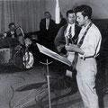 THE ROCKING DIAMONDS in de Phonogram studio (begin 1960) vlnr: Benno v.d. Weghe - Jan van Herwaarden - Piet Kruithof - Franky Franken - Paul Snelders